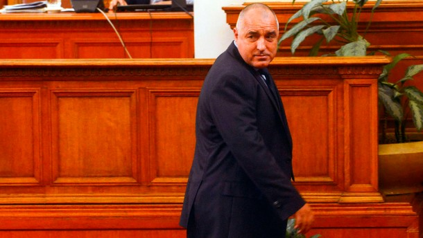 Bulgarian Prime Minister Borisov walks away after his speech in the Parliament in Sofia