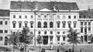 Außenansicht des Preußischen Abgeordnetenhauses auf einem Holzstich um 1868. Hier tagte die zweite Kammer des preußischen Landtags.