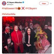 Twitter-Beitrag vom FC Bayern: Sandro Wagner als Batman, Niklas Süle als Dracula, Robert Lewandowski als Zombie, Jerome Boateng mit Totenkopf – und Rafinha als Scheich mit gefährlichem Paket.