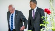 Barack Obama und Bernie Sanders am Donnerstag im Weißen Haus.