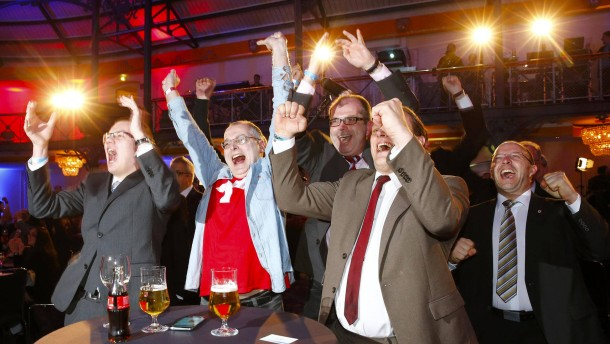 Supporters of AFD celebrate following first exit polls in Baden-Wuerttemberg state election in Stuttgart
