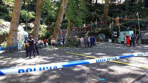 Baum stürzt auf religiöse Prozession