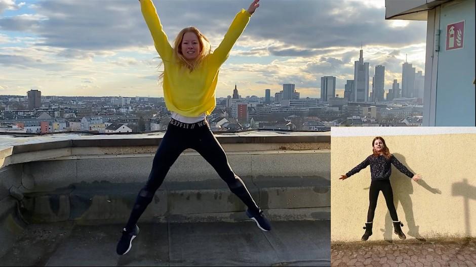 Vorlage für große Sprünge: Katharina Wiedenhofer tanzt auf dem Dach des Frankfurter Mousonturms Bewegungen von Schulkindern.