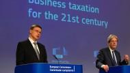Kommissionsvizepräsident Valdis Dombrovskis und Wirtschaftskommissar Paolo Gentiloni