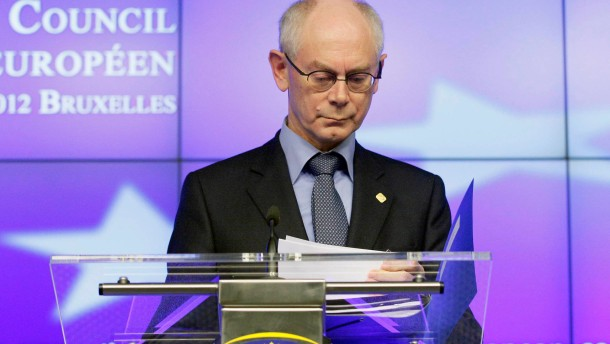 European Council President Herman Van Rompuy arrives for a news conference at the end of an EU leaders summit in Brussels