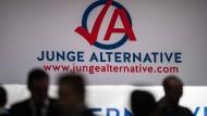 Das Logo der Jungen Alternative auf einem Bundeskongress.