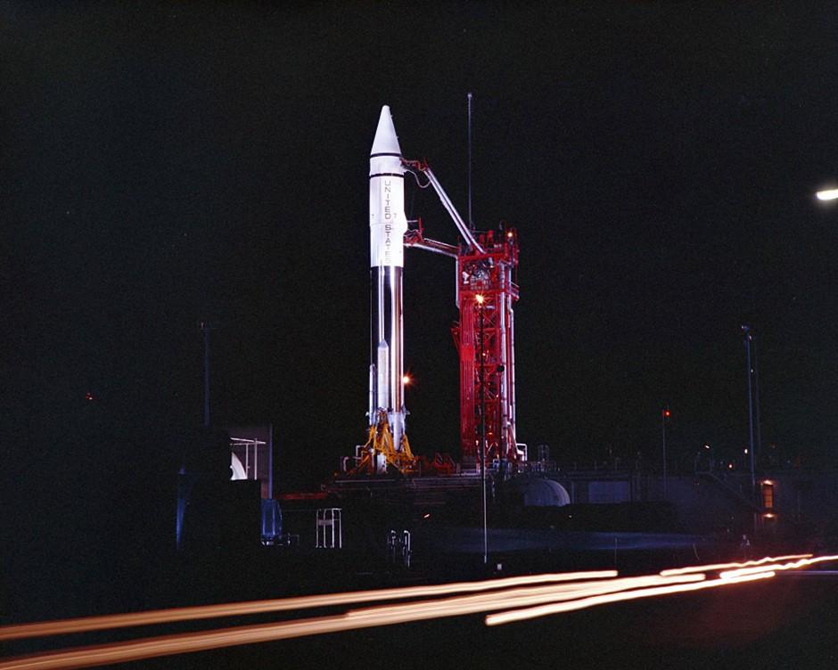 Mit dieser Atlas-Centaur-Rakete wurde am 20. September 1966 die Landesonde Surveyor 2 auf die Reise zum Mond geschickt.