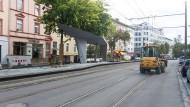 Freigegeben: Die Haltestelle Glauburgstraße ist noch nicht fertig gebaut, aber bereits einsetzbar.