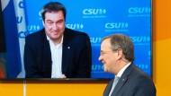Markus Söder ist zugeschaltet bei einer CDU-Veranstaltung mit Armin Laschet am 9. Januar.