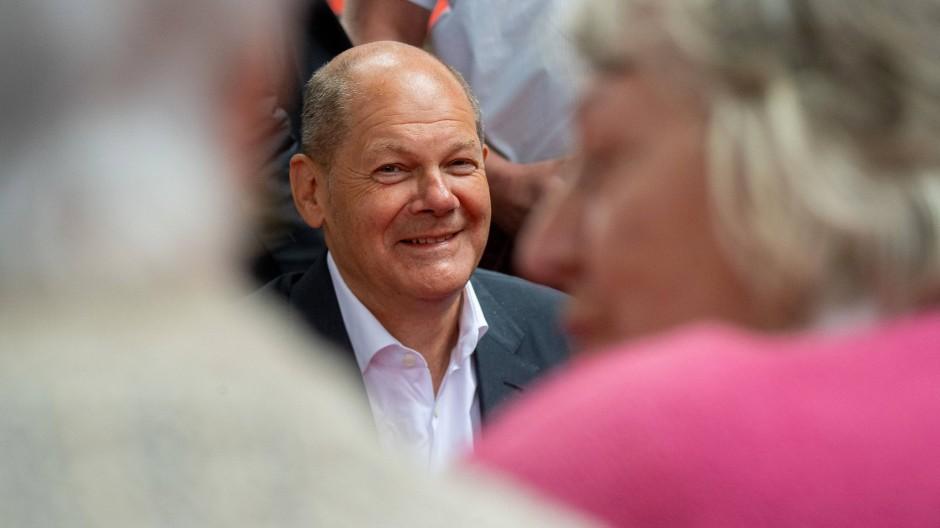 Olaf Scholz nimmt vergangenen Sonntag an einer Veranstaltung in Anklam (Mecklenburg-Vorpommern) teil.