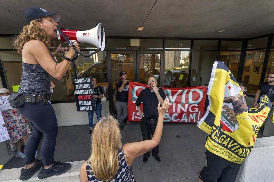 Demonstranten, die nicht geimpft werden wollen, in Los Angeles am 9. September