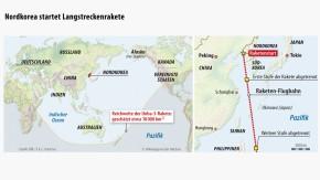 Infografik / Karte / Nordkorea startet Langstreckenrakete