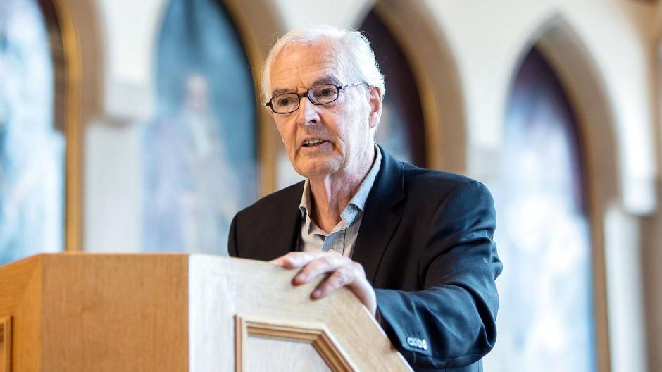 Der Schriftsteller Bodo Kirchhoff, Träger des Deutschen Buchpreises, spricht im Frankfurter Römer.