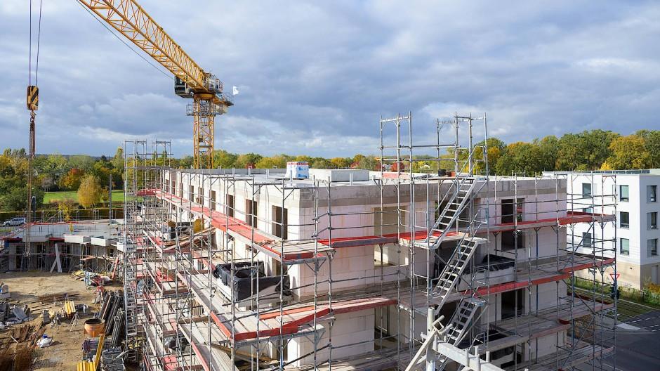 Bauen, bauen, bauen: Gerüste stehen an den Rohbauten von Häusern in Potsdam.