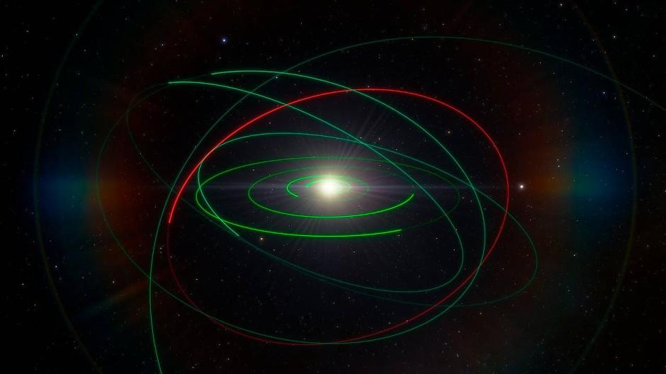 Die rote Linie illustriert die Bahn des Asteroiden 2004 EW95 im Vergleich zu den grün dargestellten Orbits anderer Körper des Sonnensystems
