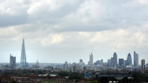 The Shard skyscraper and Saint Paul's Cathedral are seen in a view of the London skyline from South London