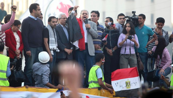 Egyptian National Rescue Front leader and former presidential candidate Sabahi delivers a speech in Tahrir Square in Cairo