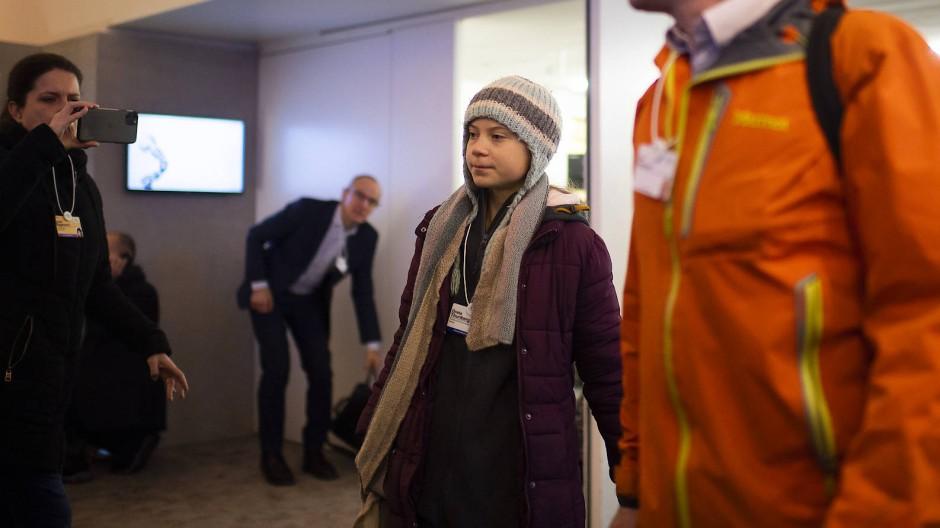 Klimaaktivistin Greta Thunberg am Dienstagmorgen vor ihrem Auftritt in Davos.