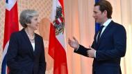 Die britische Premierministerin Theresa May und der österreichische Bundeskanzler Sebastian Kurz am Freitag in Salzburg