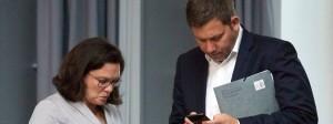 SPD-Vorsitzende Nahles, Generalsekretär Klingbeil im Bundestag