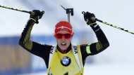 Fast nicht zu schlagen: Laura Dahlmeier im gelben Trikot der Weltcupführenden