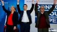 In der richtigen Partei? Hervé Juvin (rechts) mit Marine Le Pen und Jordan Bardella