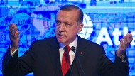 Der türkische Präsident Erdogan während seiner Rede im Politikinstitut Atlantic Council in Istanbul.