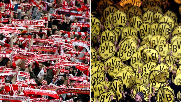 File photo of Bayern Munich and Borussia Dortmund fans