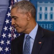 Barack Obama kurz nach seiner letzten Pressekonferenz als amtierender Präsident Amerikas