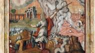 Eine Renaissancekasettendecke von 1674 zeigt, wie Moses die Israeliten durch das Rote Meer führt.