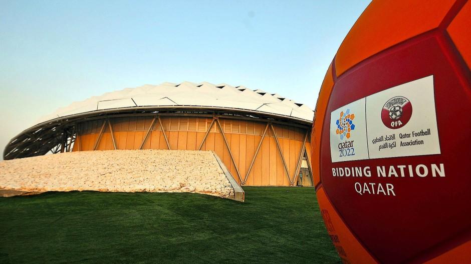 Das Bewerber-Logo Qatars für die Weltmeisterschaft 2022 (Archivbild)