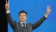 Wolodymyr Selenskyj am Freitag im Olympiastadion in Kiew