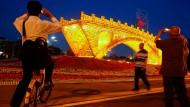 Eine Installation der neuen Seidenstraße des chinesischen Künstlers Shuyong in Peking