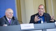 Der griechische Finanzminister Giannis Varoufakis und sein deutscher Amtskollege Wolfgang Schäuble
