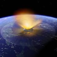 Künstlerische Darstellung des Asteroiden, der vor 66 Millionen Jahren die Erde traf.