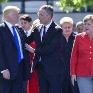 Einfach ruhig bleiben? Donald Trump mit Nato-Chef Jens Stoltenberg und Angela Merkel in Brüssel