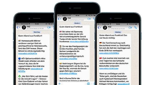 Das Wichtigste per Whatsapp, Telegram, Apple Nachrichten und Facebook Messenger