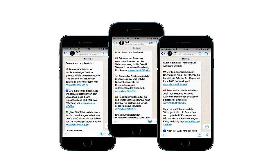 Morgens und abends kurz und bündig informiert über die Messenger-App Ihrer Wahl: So sieht unser Newsletter über Whatsapp, Telegram und Apple Nachrichten aus.