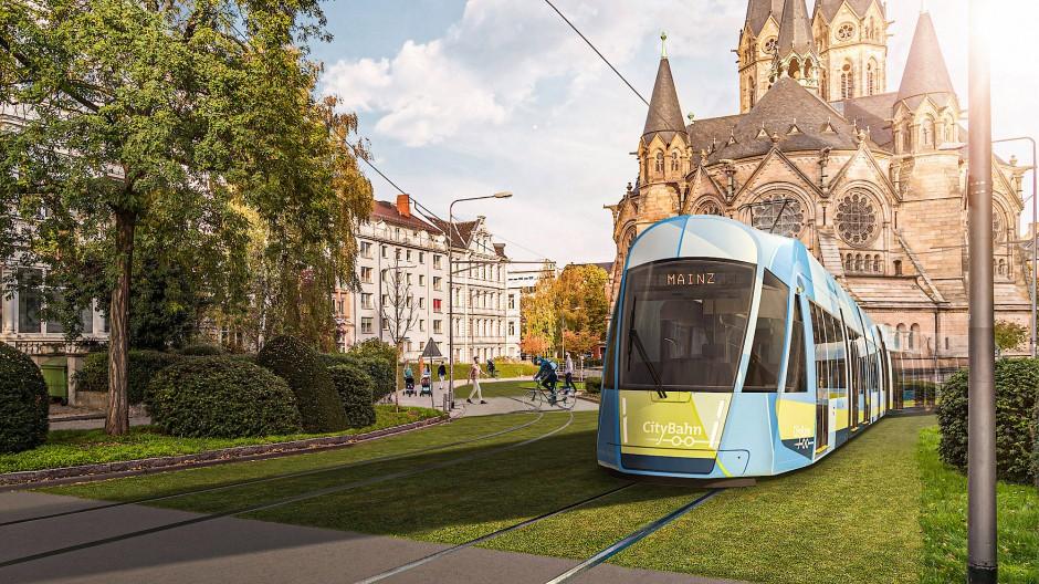 Vision: So könnte es aussehen, wenn die Citybahn von Mainz aus nach Wiesbaden fährt.
