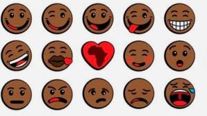 Smileys bald in fünf Hautfarben