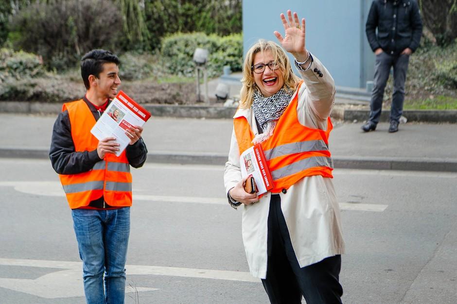 Überraschend im Aufwind – aber reicht das auch bis Sonntag um 18 Uhr? Die SPD-Spitzenkandidatin Anke Rehlinger am vorvergangenen Freitag in Dillingen, Saar