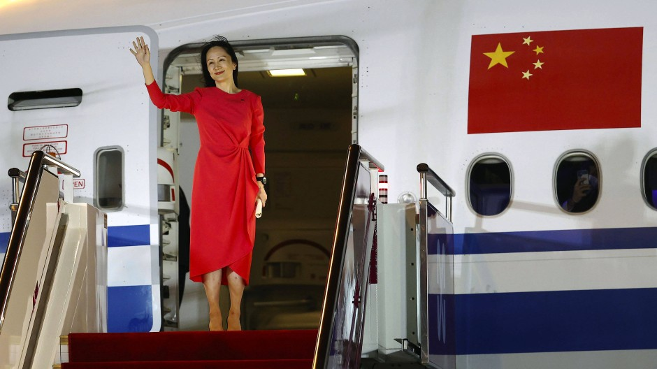 Huawei-Managerin Meng Wanzhou nach ihrer Rückkehr aus Kanada am 25. September am Flughafen Shenzhen