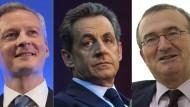 Treten an zur Vorsitzenden-Wahl: Bruno Le Maire, Nicolas Sarkozy und Hervé Mariton (von links nach rechts)