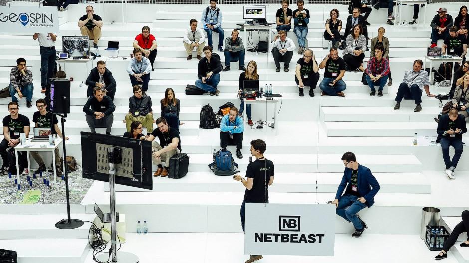 Eine Präsentation während des Start-up-Wettbewerbs auf dem New-New-Festival.