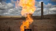 Abfackelung von Erdgas im Norden Dakotas