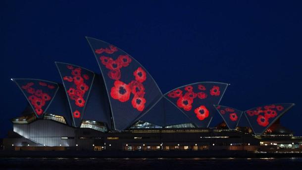 Mohnblumen erinnern in Sydney an Weltkriegsende