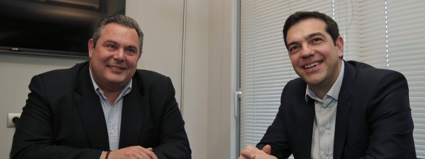 Der griechische Ministerpräsident Alexis Tsipras mit seinem Koalitionspartner und künftigen Verteidigungsminister Panos Kammenos.