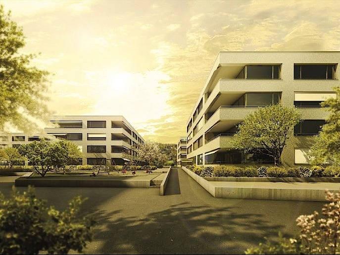 Neubauten wie diese haben einen geringeren Heizwärmebedarf als Altbauten, heizen aber im Sommer durch den größeren Fensteranteil stärker auf.