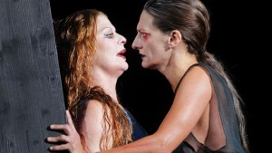 "Actors Christiane von Poelnitz and Catrin Striebeck perform on stage during a dress rehearsal of Hugo von Hofmannsthal's play ""Elektra"" at Burgtheater in Vienna"
