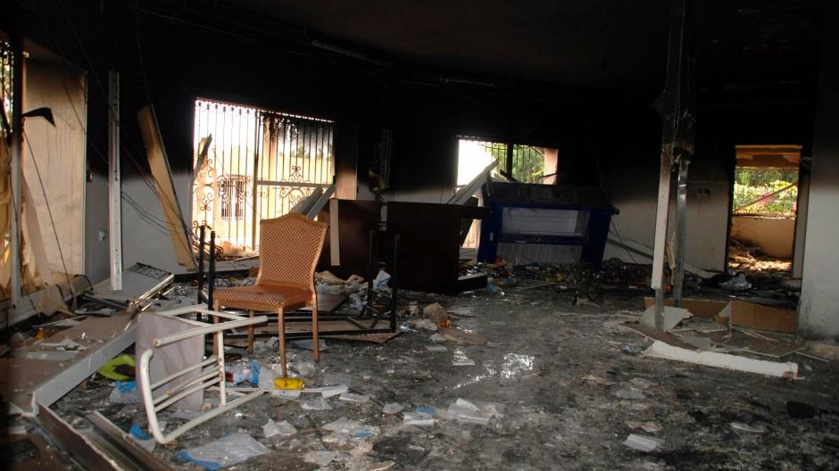 Das Werk von Terroristen: Die amerikanische Botschaft in Benghasi nach dem Angriff